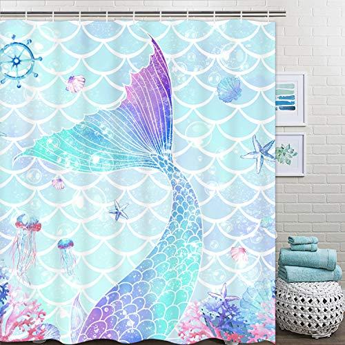 Ikfashoni Meerjungfrauen-Duschvorhang, Meerjungfrauen-Schuppen-Duschvorhänge mit 12 Haken, rosa Koralle, Seestern Badezimmer Duschvorhang, Ocean Stoff Duschvorhang für Badezimmer, 175,3 cm B x 70 L