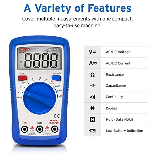 Etekcity Auto Ranging Digital Multimeter, AC/DC Amp Ohm Voltage Tester Meter with Resistance Continuity Capacitance and Diode Test