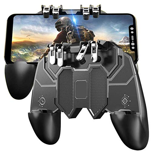"odestro® AK-66 Mobile Game Controller with L1R1 L2R2 Triggers, PUBG Mobile Controller 6 Fingers Operation, Joystick Remote Grip Shooting Aim Keys for 4.7-6.5"" iPhone/Android (Black)"