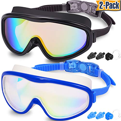 Braylin Adult Swim Goggles Pack of 2 No Leaking Swimming Goggles AntiFog UV Protection Wide Vision Swim Glasses with Nose Clips Ear Plugs for Men Women Youth Over 15