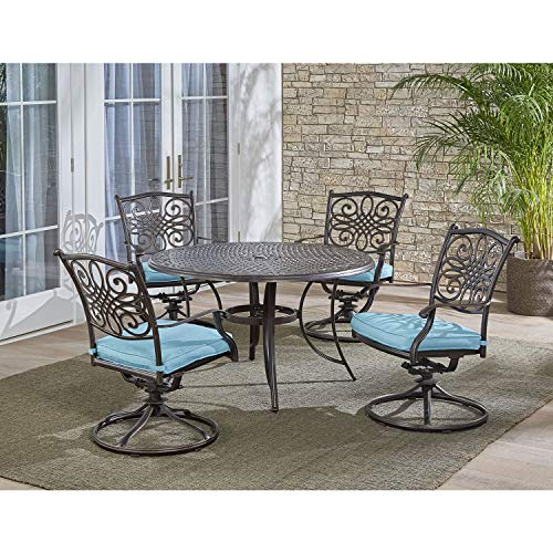 Hanover Traditions 5-Piece Cast Aluminum Outdoor Patio Dining Set, 4 Swivel Rocker Chairs and 48' Round Table, Brushed Bronze Finish with Blue Cushions, Rust-Resistant, TRADDN5PCSW-BLU