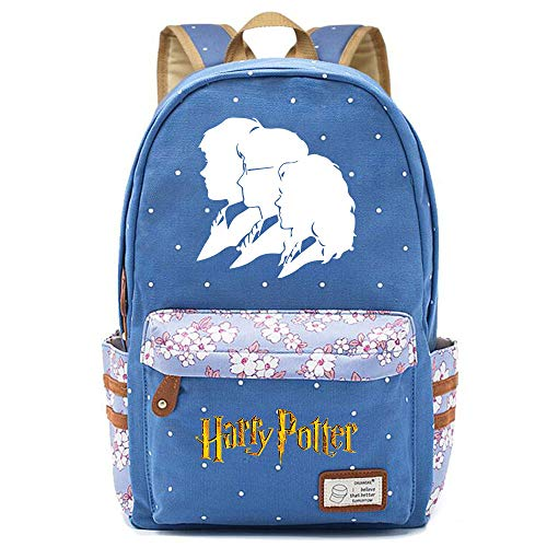 NYLY Harry Potter Avatar Rucksack, Jugendschüler Schultasche, Mädchen Blumen Backpack Notebook Tasche Unisex (Stil M) L Blau