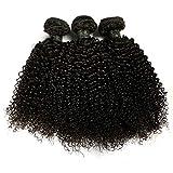 BLISSHAIR - Extensiones de cabello rizado brasileño 100% virgen Remy sin procesar, 3 paquetes de extensiones de cabello rizado profundo de color negro natural 12 14 16 pulgada