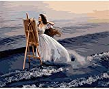 ZXlDXF Adults Children Beginners use Paint by Numbers Kits to DIY Digital Oil Paintings Including Brushes and Paints 4050 inches Home Wall Decoration Crafts Seaside Sketching