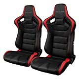 Braum BRR1-BKRD Elite Series Sport Seats - Black and Red Leatherette