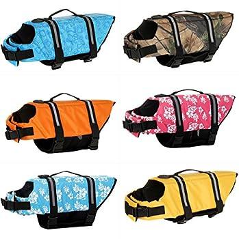 Hony Animaux Gilet de Sauvetage - Chiot Gilet de Flottaison Chien Bouée de Sauvetage Sécurité pour La Natation avec Boucle réglable Manteau à Flotteur Multi-Taille