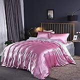 Juegos de sábanas y fundas de almohada,100 edredón de seda de morera de seda sábana de cama de color sólido solo verano doble seda sola edredón de seda de hielo cubierta de 1,8 m-Rosa + blanco_Cama d