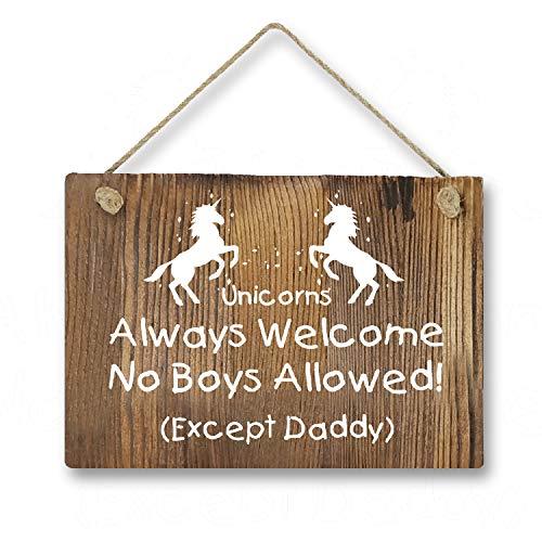 Agantree Art Funny Unicorn Welcome Rustic Front Door Hanger Wood Decor Sign for Kids Girls Nursery Bedroom