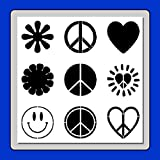 12 X 12 inch (9 in 1) Peace/Hippie/Hippy 60's Symbols Stencil Template Flowers/Hearts/Smiley Face
