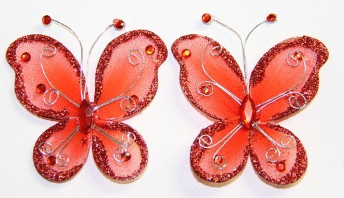 """Gift Square 2"""" Organza Butterfly Clip Wedding Favor 20 Pack - Red"""