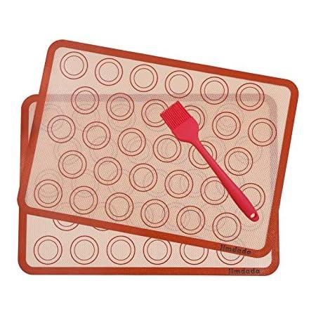 Macarons Tapis de Four et Cuisson en Silicone-Conçu pour le Chef, Jimdada Set de 2 Plaques de Cuisson(42 x 29.5 cm),BROSSE CADEAU -SATISFACTION 100% GARANTIE