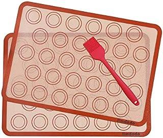 Macarons Tapis de Four et Cuisson en Silicone-Conçu pour le Chef, Jimdada Set de 2 Plaques de Cuisson(42 x 29.5 cm),BROSSE...