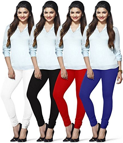 Womens Cotton Lycra 4 way Stretchable Churidar Leggings For Women Multicolor Fit to Waist Size_Upto 34 Inches Combo (Multicolour,...
