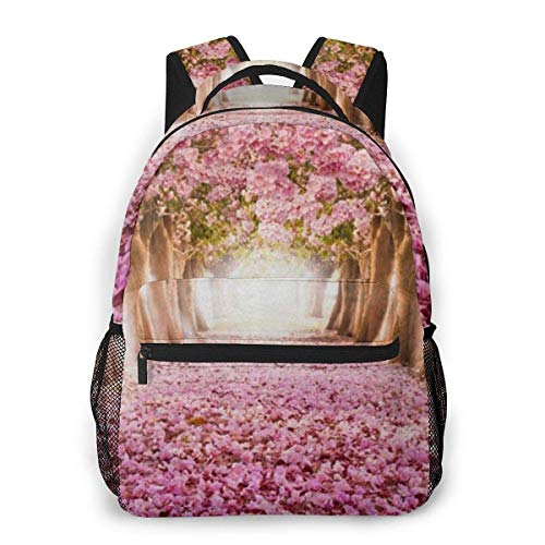 Lawenp Pink Cherry Blossom Casual Backpack For School Outdoor Travel Big Student Fashion Bag