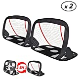VOUNOT Cage de Foot Portable Lot de 2 pcs But de Football Pliable Cage de Football Pop UP Design 2 en 1 But d'entrainement Cage de Foot Normale avec Sac Rangement et Piquets