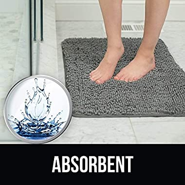 KANGAROO Plush Luxury Chenille Bathroom Rug Mat (30 x 20), Extra Soft and Absorbent Shaggy Rugs, Machine Wash/Dry, Strong Underside, Perfect Carpet Mats for Tub, Shower, and Bath Room (White)