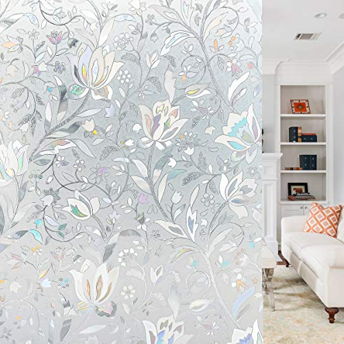 Funfox 3D Blumen Fensterfolie Sichtschutzfolie Selbstklebend Blickdicht Fenster Scheibenfolie Anti-UV Statische Folie Dekorfolie 44.5 x 200cm