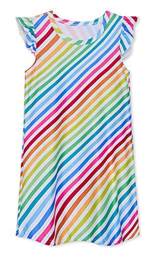 UNIFACO Girl Nightgowns Rainbow Stripe Flutter Sleeve Sleepwear One Piece Nightshirt for Indoor Casual Night Party