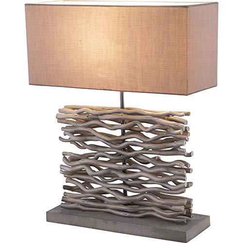 Design Schreib Tisch Lampe Schlaf Gäste Zimmer Beistell Leuchte Textil Holz Strahler Globo 21648