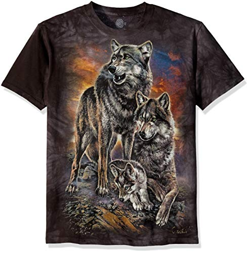 The Mountain Unisex-Erwachsene Wolf Family Sunrise T-Shirt, grau, Medium