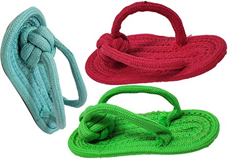 Dog Chew Toy Slipper Shoe Flip Flops Shape Great for Teething Puppies Molar Teeth Cleaning Toy Chew Activity Toy Cotton Rope Material ( 3 Pack) Cotton, Cotton Rope