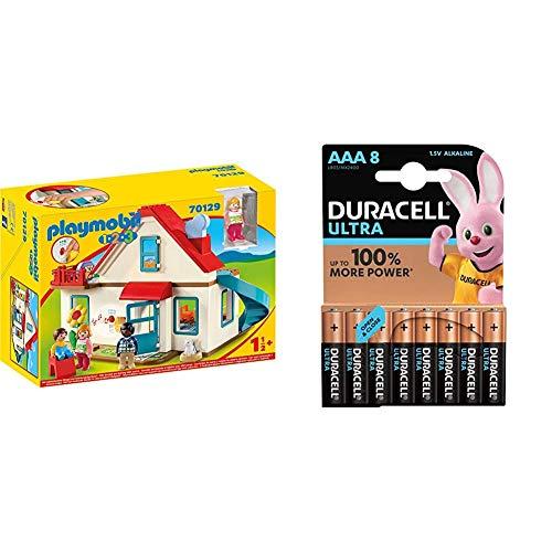 Playmobil 1.2.3 70129 Einfamilienhaus, Mit funktionsfähiger Klingel und Soundeffekt, Ab 18 Monaten + Duracell Ultra AAA Micro Alkaline Batterien LR03, 8er Pack