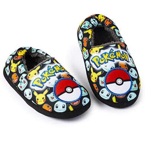 Pokémon Pokemon Pikachu Hausschuhe Kinder Mit dem Pokéball Glumanda Schiggy Bisasam und Pikachu, Slipper Weiche Sohle Fleece für Jungen Mädchen Anti-Rutsch,Geschenk-Ideen Fans 5 UK