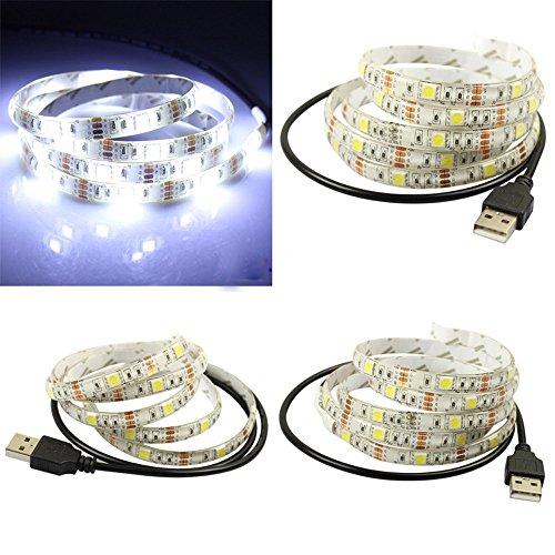 1M TV LED Posteriore di illuminazione, Mecohe 5V Striscia USB RGB LED, Luci Strisce Multicolore Flessibile per Monitor PC/Camera/Festa/Decorazione per La Casa (Bianca)