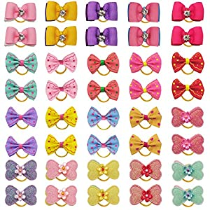 40PCS/20Pairs Dog Hair Bows Elastic Hair Bands Glitter Rhinestones Flower Knotted Dog Bows Hair Ties Pet Hair Bows Puppy Dogs Cats Grooming Hair Accessories