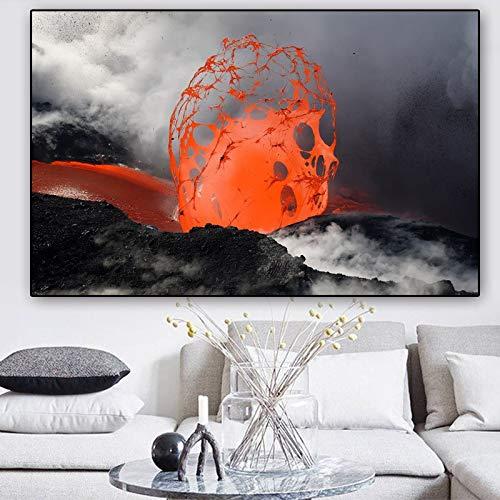 Geiqianjiumai Volcano Poster Lienzo Mural Poster y Foto Mural Imagen decoración de la Sala Pintura sin Marco 60x110cm