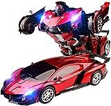 01:12 rechargeable Deformed voiture télécommandée, 2.4Ghz Transformateur Autobots Toys Car One Touch Transformer Autobot radiocommandé Dérive voiture avec son, flash meilleur cadeau for les enfants R