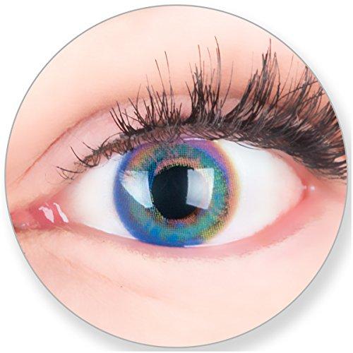 Glamlens Kontaktlinsen farbig blau ohne Stärke - mit Kontaktlinsenbehälter. Sehr stark deckende natürliche blaue farbige Monatslinsen Saphir Blaue 1 Paar weich Silikon Hydrogel