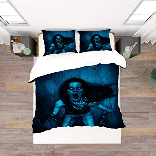 Bedding Halloween ghost Trendy 3D Striped Pattern 3 pieces Quilt with Zipper Duvet Cover Set King Set including Pillowcases Closure Easy Care Washable-140x200cm