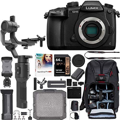 Panasonic LUMIX GH5 Mirrorless 4K Camera Body DC-GH5 Filmmaker's Kit with DJI Ronin-SC 3-Axis Handheld Gimbal Stabilizer Bundle + Deco Photo Backpack Case + 64GB Card + Corel Paintshop Pro Software