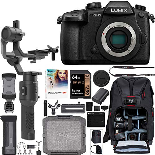 Panasonic LUMIX GH5 Mirrorless 4K Camera Body DC-GH5 Filmmaker's Kit with DJI Ronin-SC 3-Axis Handheld Gimbal Stabilizer Bundle + Deco Photo Backpack Case + 64GB Card + Corel Paintshop Pro Software
