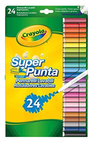 CRAYOLA- Disney Rotuladores Súper Punta Lavables 24 ud, Multicolor, Pack of 24 (7551)