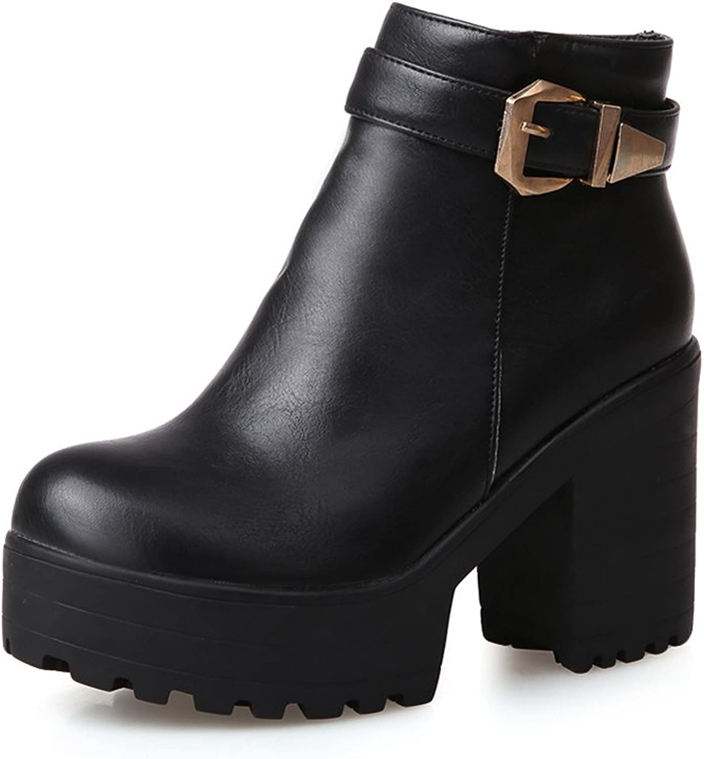 Lucksender Womens Round Toe Platform High Chunky Heels Ankle Martin Boots With Metal Buckles