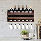 Wall Mounted Wine Rack and Glass Holder - Hanging Bottle & Glass Rack - 6 Bottles & Stemware Glass Organizer for Kitchen, Bar, or Home