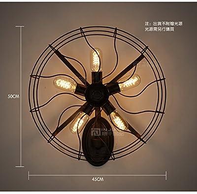 Injuicy Lighting Vintage Edison Fan Industrial Lamp Barn Metal Semi Flush Mount Light With 5 Edison Bullb Black With Rust Color