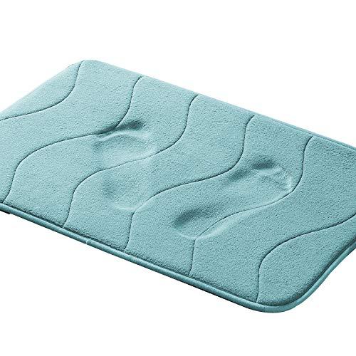 Premium Memory Foam 17x24 inch Machine Washable Bath Rugs for Bathroom/Kitchen Dry Fast Water Absorbent Rugs Absorbent Soft Microfibers Bathroom Rug Non-Slip Bath Rugs - Aqua Green