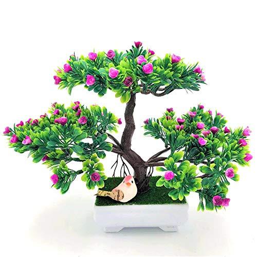 SISHUINIANHUA 1 stücke Weihnachtsbaum Künstliche decrative Bonsai Künstliche Blumen Rose Dragon Gefälschte Grüne Topfpflanzen Ornamente Home Party Decor,d