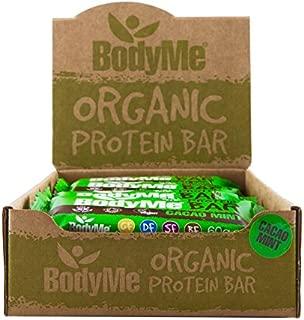 BodyMe Organic Vegan Protein Bar | Raw Cacao Mint | Box of 12 x 2.12oz (60g) | With 3 Plant Proteins