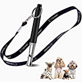 Howan Dog Training Whistle to Stop Barking, Professional Dogs Whistles- Trasonic Silent Dog Whistle Adjustable Frequencies, Dog Whistle for Recall Training Include Free Black Strap Lanyard (Black)