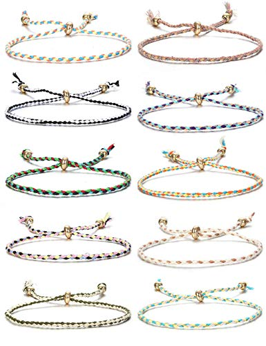 CASSIECA 10Pcs Handmade Wrap Friendship Cord Bracelet for Women Teen Girls Braided Bracelet Multicolor String Bracelet Wrist Cord Anklet Birthday Gifts