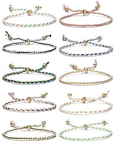 CASSIECA 10Stück Handgemachte Geflochtenes Armbänder für Frauen Mädchen Wickeln Freundschaft Armband Mehrfarbig String Armband Handgelenk Fußkettchen Geburtstagsgeschenke
