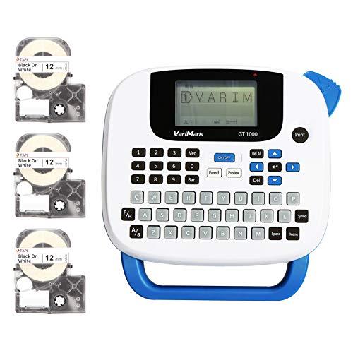 Sunshin VariMark Portable Label Printer Maker Impressora de transferência térmica Corte manual 203 dpi 6-14mm Largura da etiqueta Chinês/Inglês/Entrada de curso com teclado 3 rolos Papel de etique