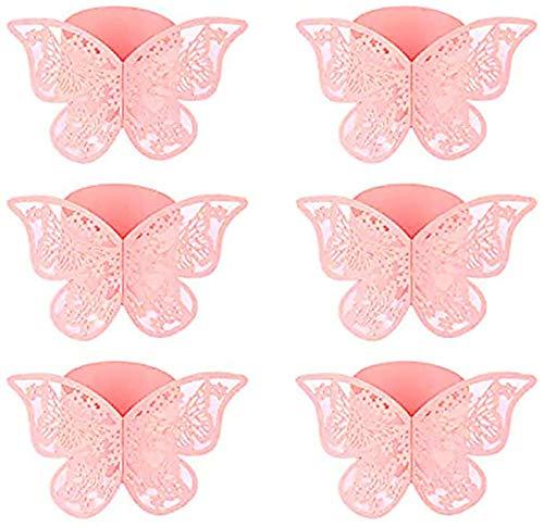 Angels' Schmetterlings Papier Serviettenring, 50 Stück 3D Laser geschnittene Serviettenschnallen Band für Hochzeitsessen Party Serviette Table Festival Jubiläumsrestaurant (Rosa)