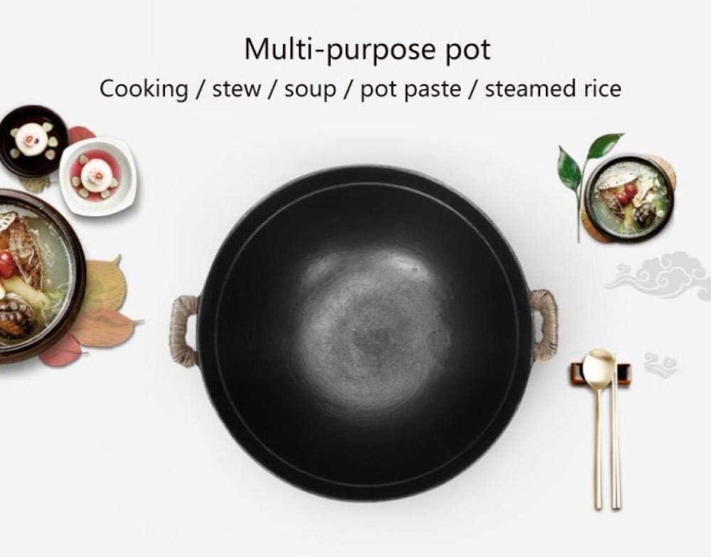 AMYZ Grand Pot en Fer Vintage Fait à la Main ménage Fond Rond Wok binaural Non revêtu Pot en Fonte Traditionnel poêle antiadhésif,32 cm 36cm