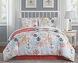 Avondale Manor Belize 6-Piece Coastal Twin Comforter Sheet Ultra-Soft Microfiber, Reversible Comfortable Beach Bedding Set, Hypoallergenic Bedspread, Coral