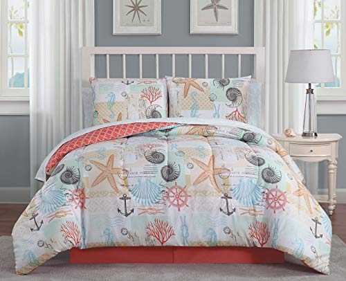 Geneva Home Fashion Belize 6pc Reversible Coastal Comforter with Sheet 8-Piece Bed in a Bag Set, Twin, Coral